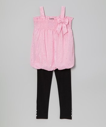 Pink Metallic Bow Tunic & Leggings - Infant, Toddler & Girls