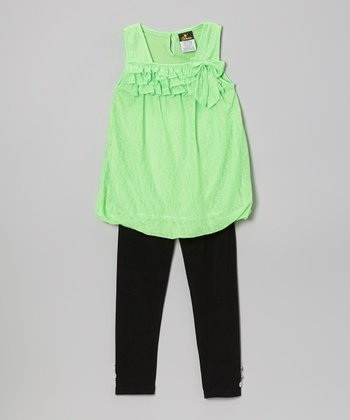 Green Ruffle Bubble Tunic & Leggings - Infant, Toddler & Girls