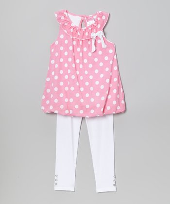 Pink Polka Dot Yoke Tunic & Leggings - Infant, Toddler & Girls