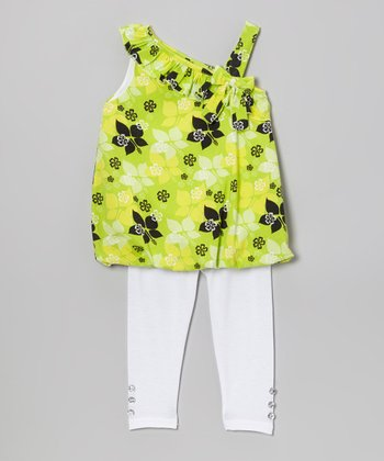 Lime Floral Bubble Tunic & Leggings - Infant, Toddler & Girls