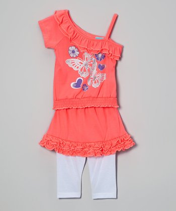 Coral Butterfly Top & Skirted Leggings - Infant, Toddler & Girls