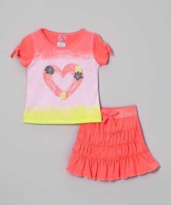 Coral Rhinestone Heart Top & Skirt - Infant, Toddler & Girls