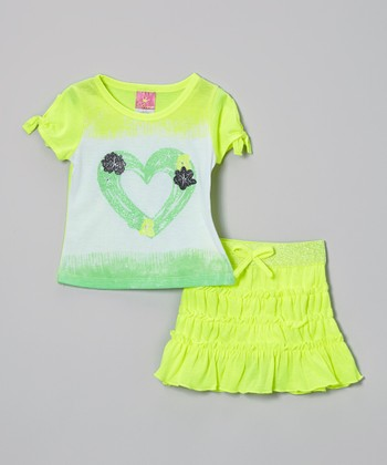 Lime Rhinestone Heart Top & Skirt - Infant, Toddler & Girls