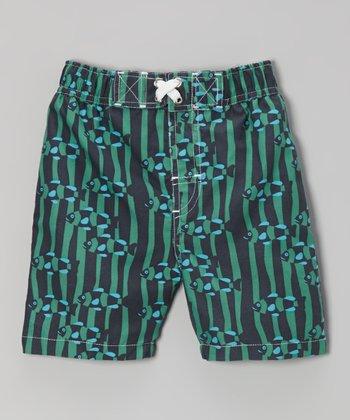 Navy & Green Goldfish Swim Trunks - Infant, Toddler & Boys