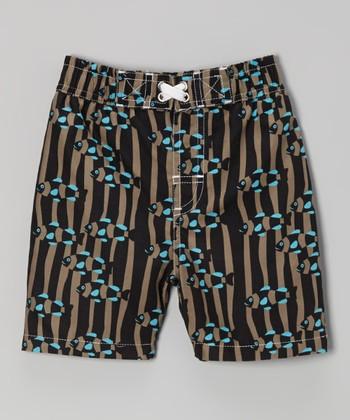 Black & Mud Goldfish Swim Trunks - Infant, Toddler & Boys