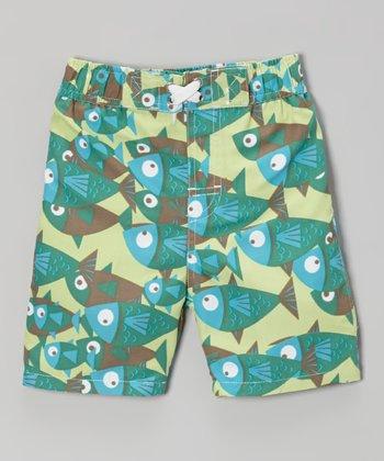 Lime School of Fish Swim Trunks - Infant, Toddler & Boys