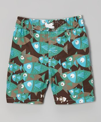 Brown School of Fish Swim Trunks - Infant, Toddler & Boys