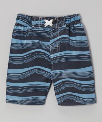 Navy Waves Swim Trunks - Infant, Toddler & Boys