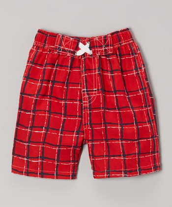 Red Wavy Plaid Swim Trunks - Infant, Toddler & Boys