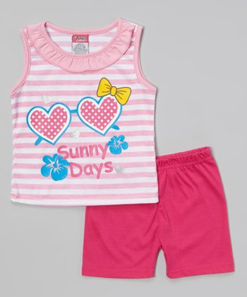 Pink 'Sunny Days' Ruffle Tank & Shorts - Infant & Toddler