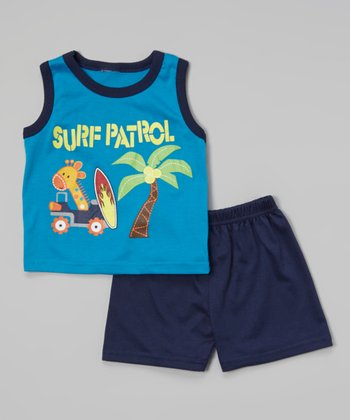 Blue 'Surf Patrol' Tank & Black Shorts - Infant