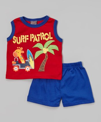 Red 'Surf Patrol' Tank & Blue Shorts - Infant