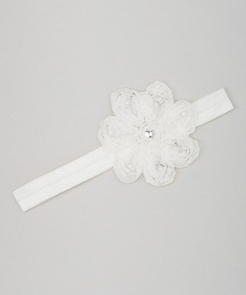 White Pearl Flower Headband
