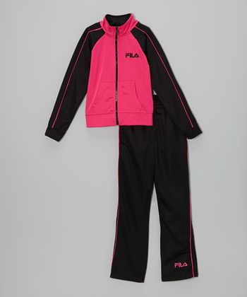 Pink & Anthracite Raglan Jacket & Track Pants - Toddler & Girls