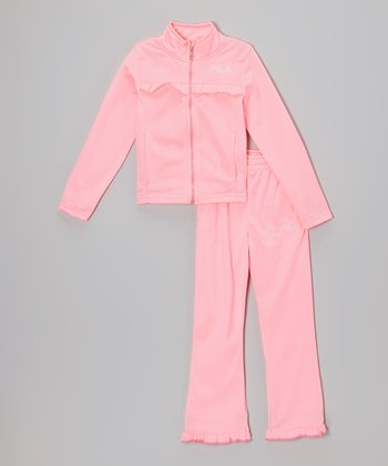 Pink Splash Ruffle Jacket & Pants - Toddler & Girls
