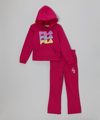 Hot Fuchsia Logo Hoodie & Pants - Toddler & Girls