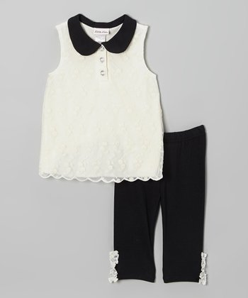 Ivory Lace Tunic & Black Ruffle Leggings - Infant, Toddler & Girls