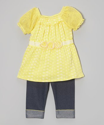 Yellow Floral Mesh Tunic & Denim Leggings - Infant