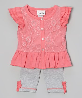 Pink Lace Angel-Sleeve Tunic & Gray Leggings - Infant
