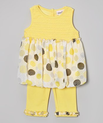 Yellow Polka Dot Swing Tunic & Ruffle Leggings - Toddler & Girls