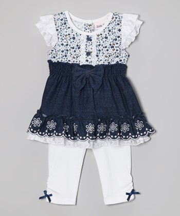 Denim Floral Tunic & White Leggings - Toddler