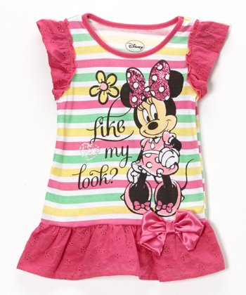 Pink Rainbow Stripe Minnie Mouse Ruffle Tee - Girls
