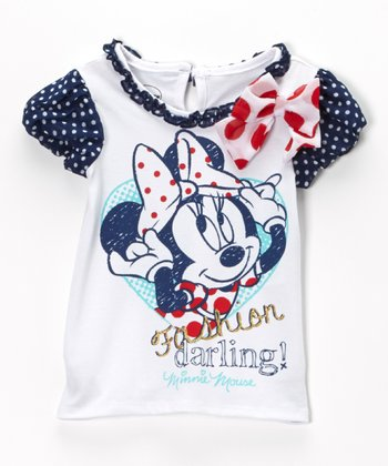White Polka Dot 'Fashion Darling' Minnie Tee - Girls