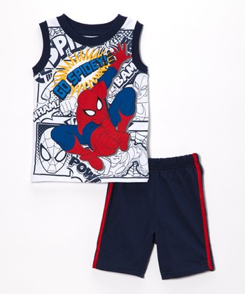 Navy Spider-Man Comic Strip Tank & Shorts - Boys