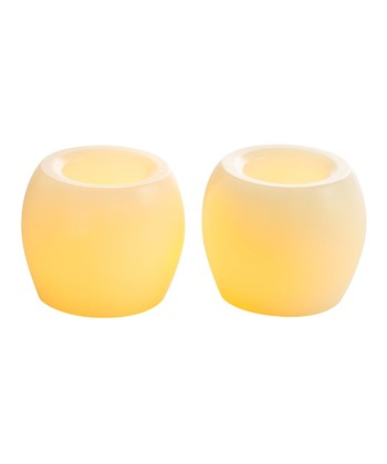 Cream Mini Hurricane Flameless Candle - Set of Two