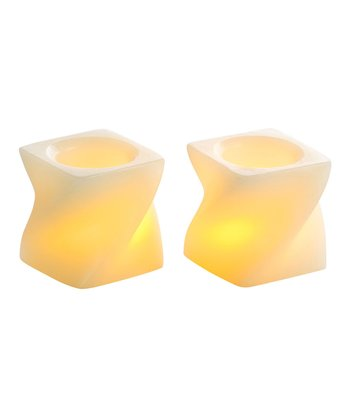 Cream Mini Twisted Flameless Candle - Set of Two