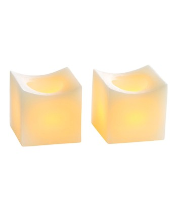 Cream Mini Curved Flameless Candle - Set of Two