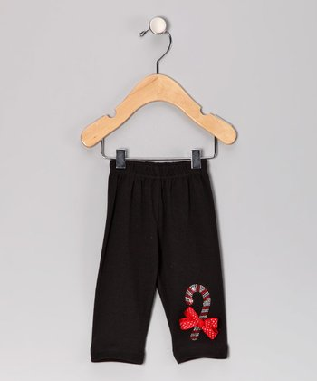 Black Candy Cane Leggings - Infant, Toddler & Girls