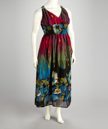 Purple & Red Floral Empire-Waist Dress - Plus