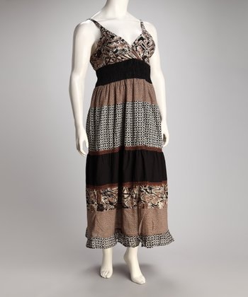 Brown Shirred Maxi Dress - Plus