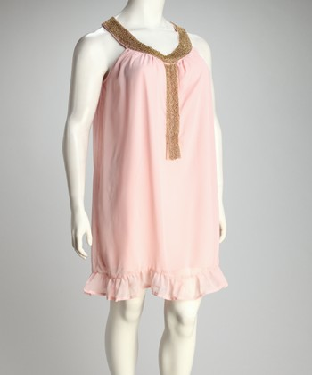 Pink Beaded Yoke Dress - Plus