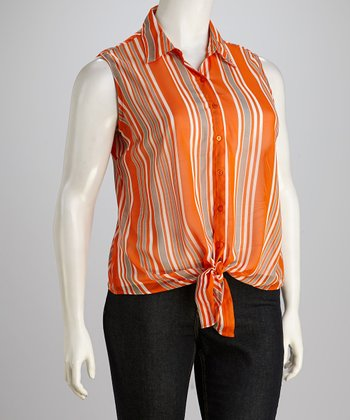 Orange & Gray Stripe Sleeveless Button-Up - Plus