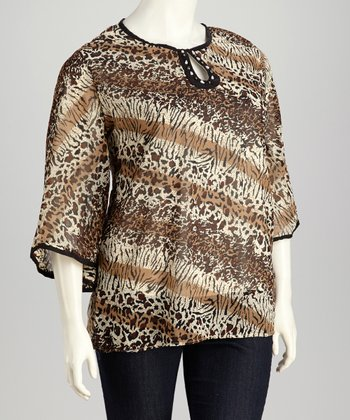 Black & Brown Jungle Keyhole Plus-Size Tunic
