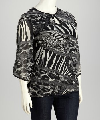 Black & White Jungle Keyhole Plus-Size Tunic