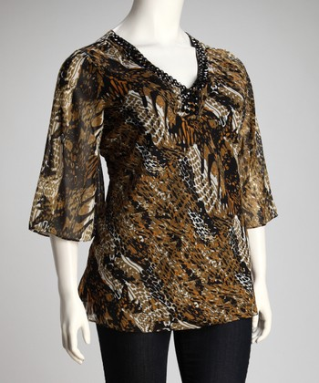 Sage & Black Jungle Tunic - Plus