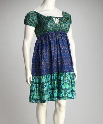 Blue & Green Color Block Plus-Size Dress