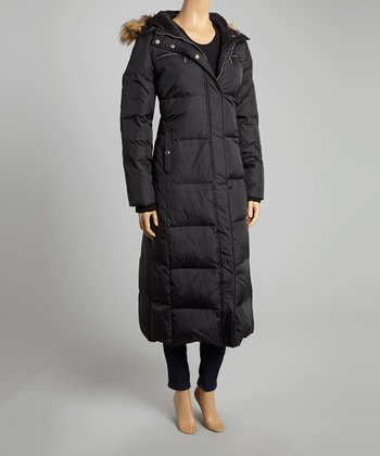 Black Faux Fur Hooded Puffer Coat - Women