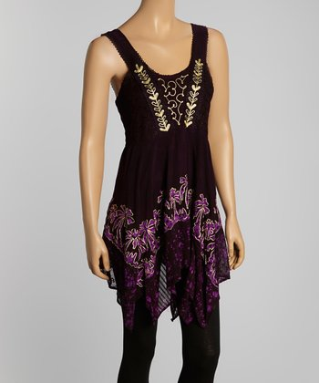 Purple Palm Tree Embroidered Tank