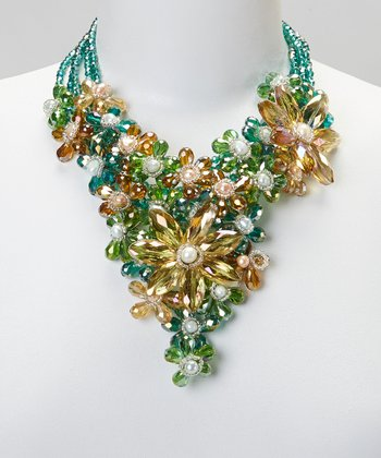 Green & Yellow Crystal Flower Bib Necklace