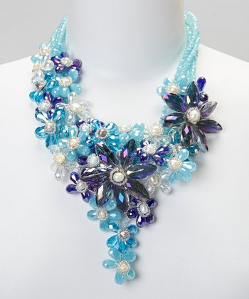 Blue Crystal Flower Bib Necklace