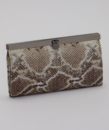 Tan & Cream Snakeskin Clutch