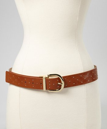 Cognac & Gold Stud Belt