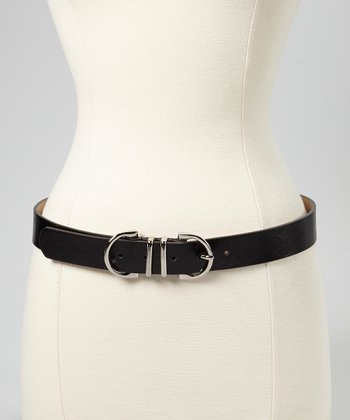 Black & Silver Double-Loop Belt