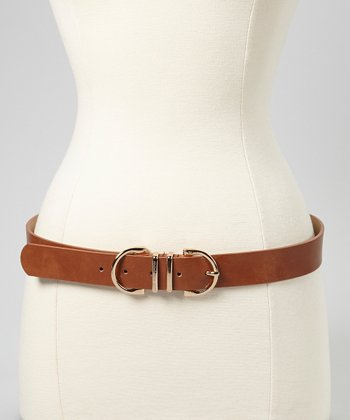 Cognac & Gold Double-Loop Belt