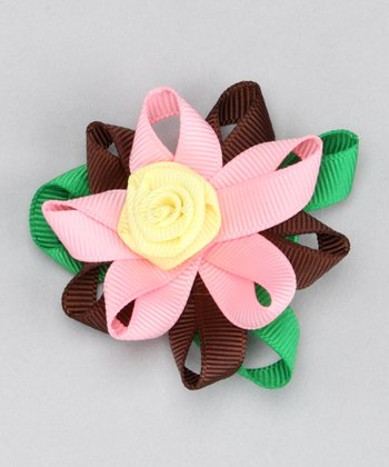 Brown & Pink Flower Clip