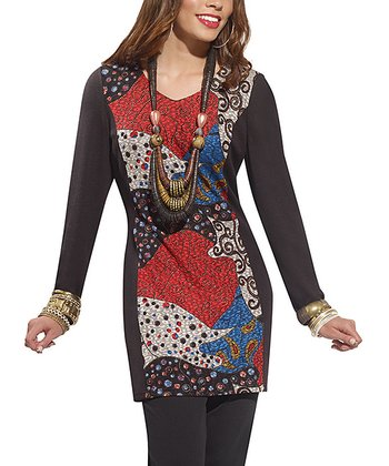 Black & Red Abstract Mixed Media Scoop Neck Tunic - Women & Plus